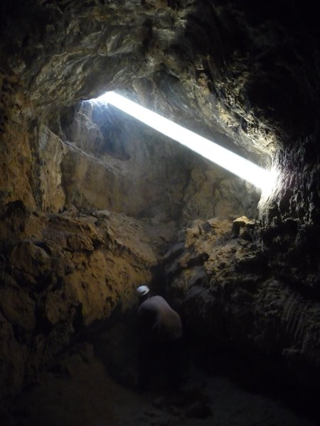 Light streaming into the lava tube caves in the Mojave Preserve, CA
