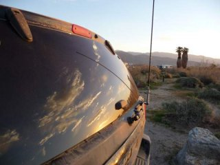 Sunrise reflection in the back of the WJ at Anza Borrego, CA